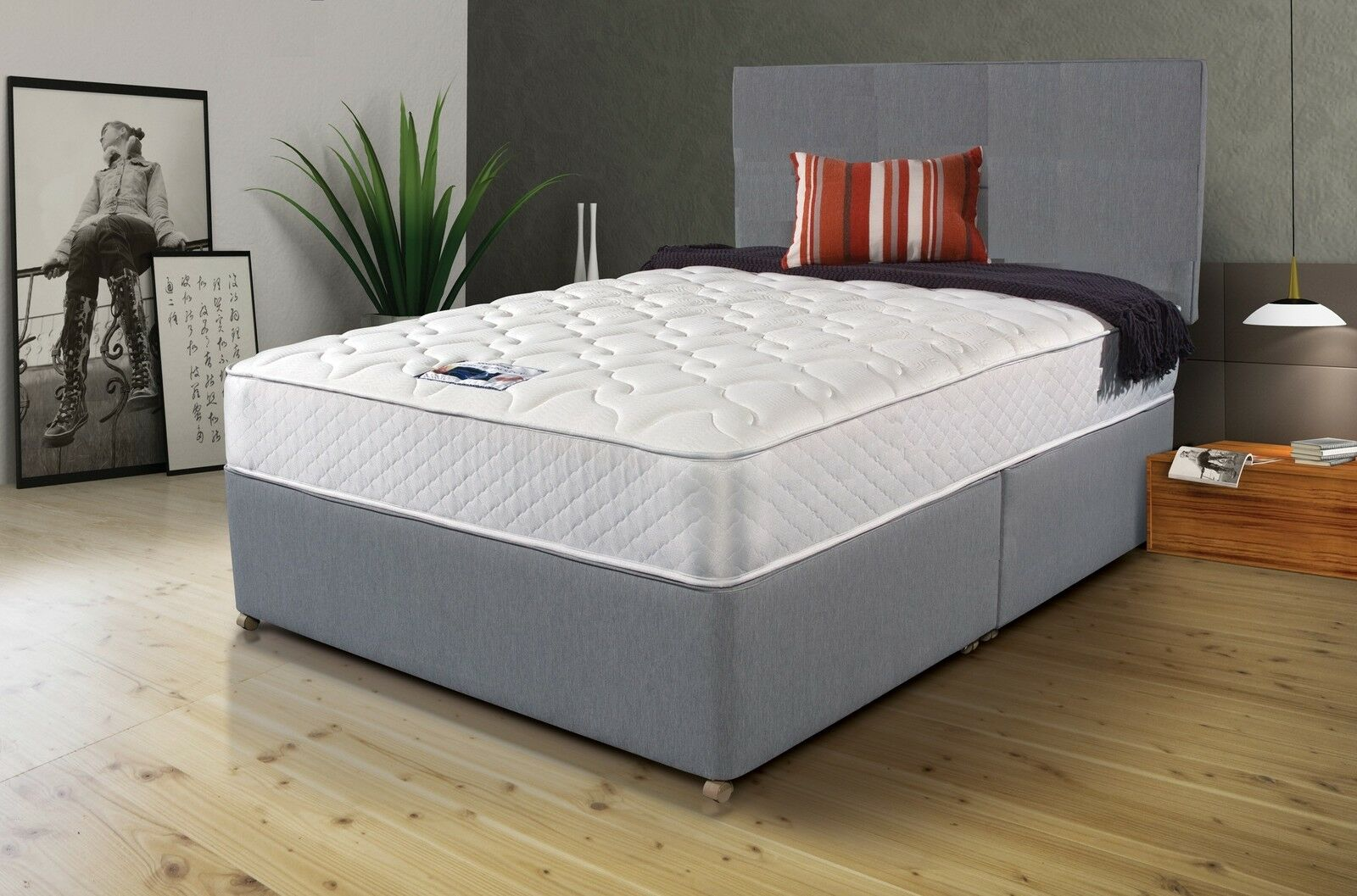 Divan Bed And Mattress Deals Details About Grey Fabric Divan Bed Set Memory Mattress Headboard 3ft 4ft 4ft6 Double 5ft