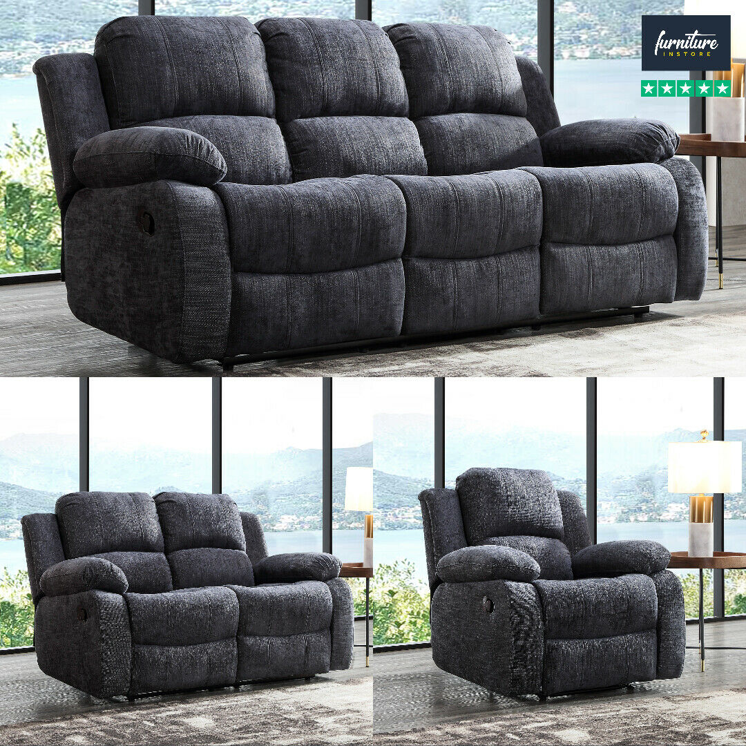 Recliner Sofa Set Fabric Charcoal Grey 3 Piece Suite Sofas Couch Sale 3 2 1 New Ebay