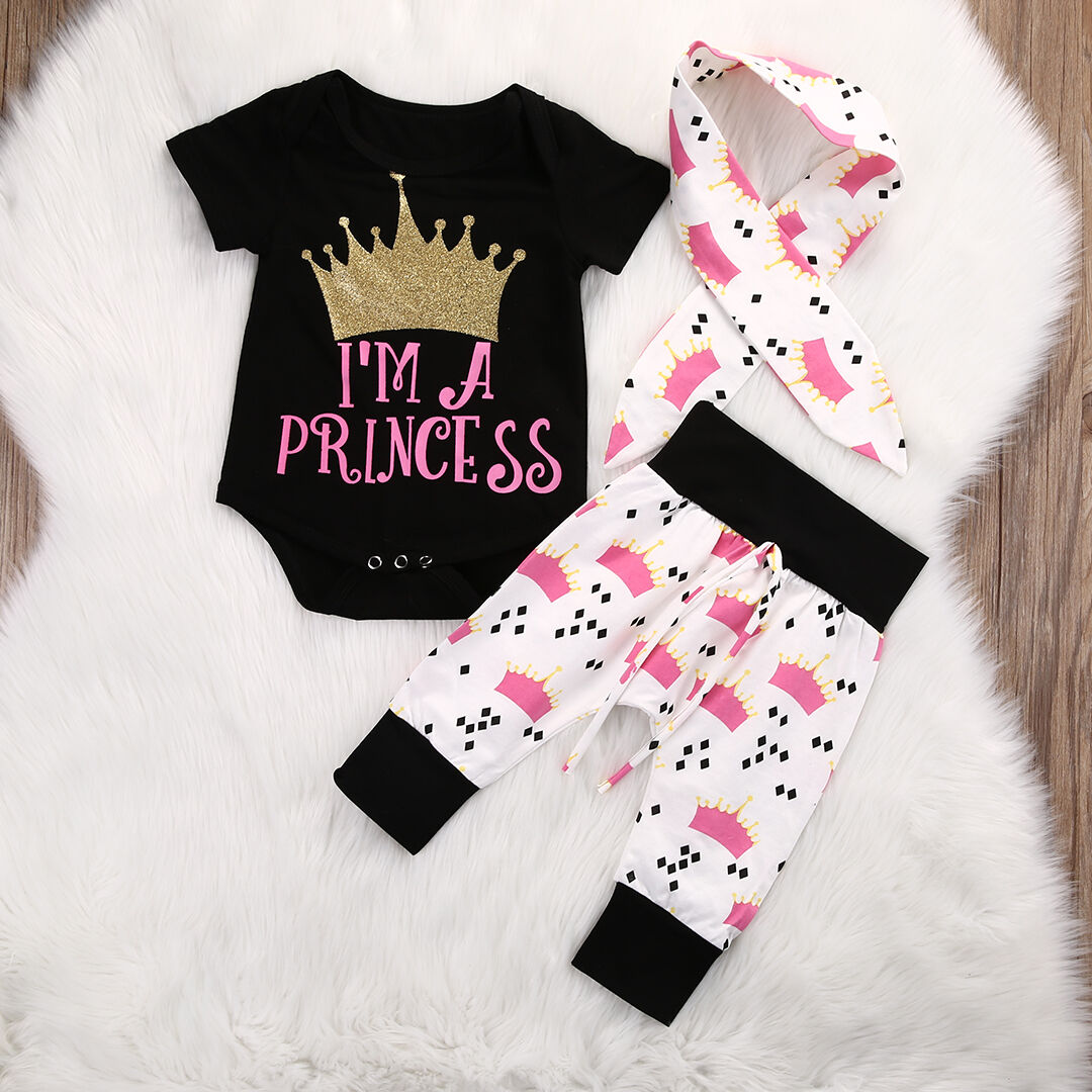 Newborn Infant Outfits Details About Newborn Baby Girl Infant Outfits Clothes Romper Bodysuit Pants Leggings 3pcs Set