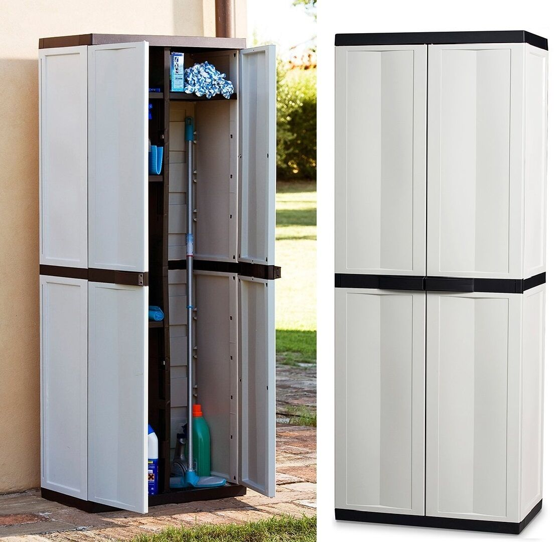 Plastic Storage Cupboard Large Storage Cabinet Garden Garage House Shed Patio