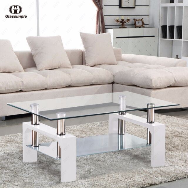 DESIGNER Glass Rectangular Coffee Table Shelf Chrome Wood Living - glass living room furniture