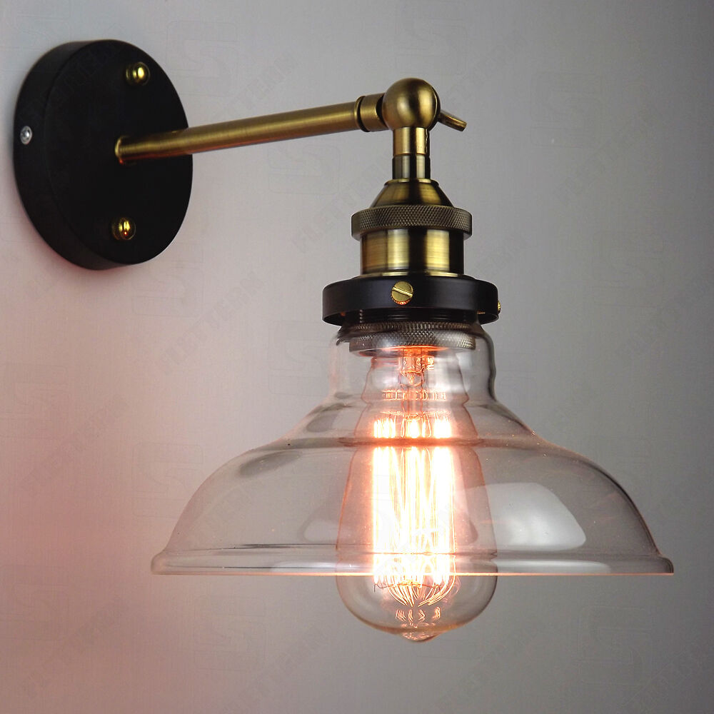 Glass Lamp Bowl Details About Vintage Antique Industrial Bowl Sconce Loft Cofe Rustic Wall Light Glass Lamp