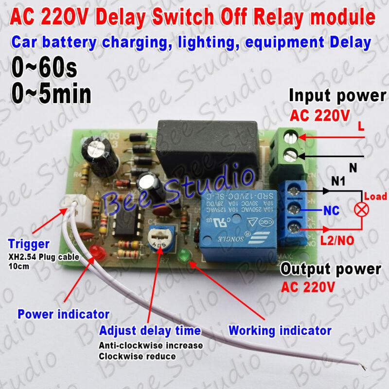 AC 220V 230V Adjustable Trigger Delay Timer Relay Switch Turn On Off