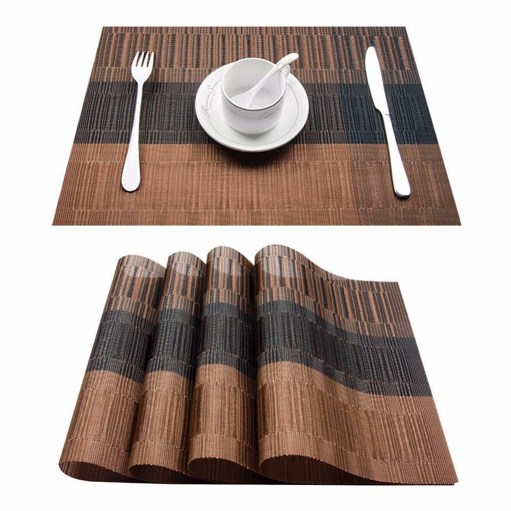 Pvc Placemats Details About Set Of 4 Pvc Bamboo Plastic Placemats For Dining Table Runner Linens Place Mat