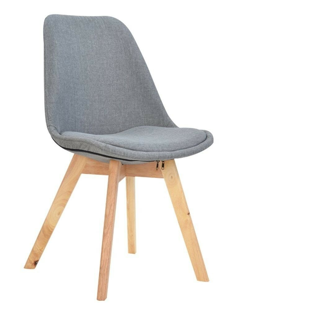 Eames Style Upholstered Dining Chair In Grey With Soft Pad - Eames Chair London