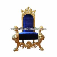 NEW Tiger King Throne Chair - Gold & Blue - Luxury French ...