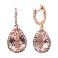 4.78CT F VS Morganite & Diamond Drop Dangle Halo Style ...