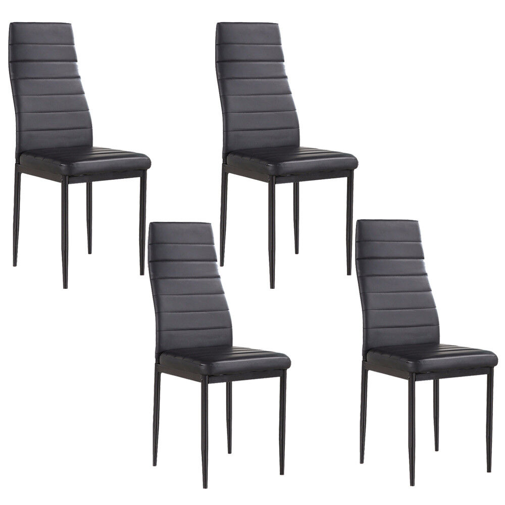Chairs Comfortable Details About Set Of 4 Stunning Black Dining Chairs Comfortable Leather Dining Room Furniture