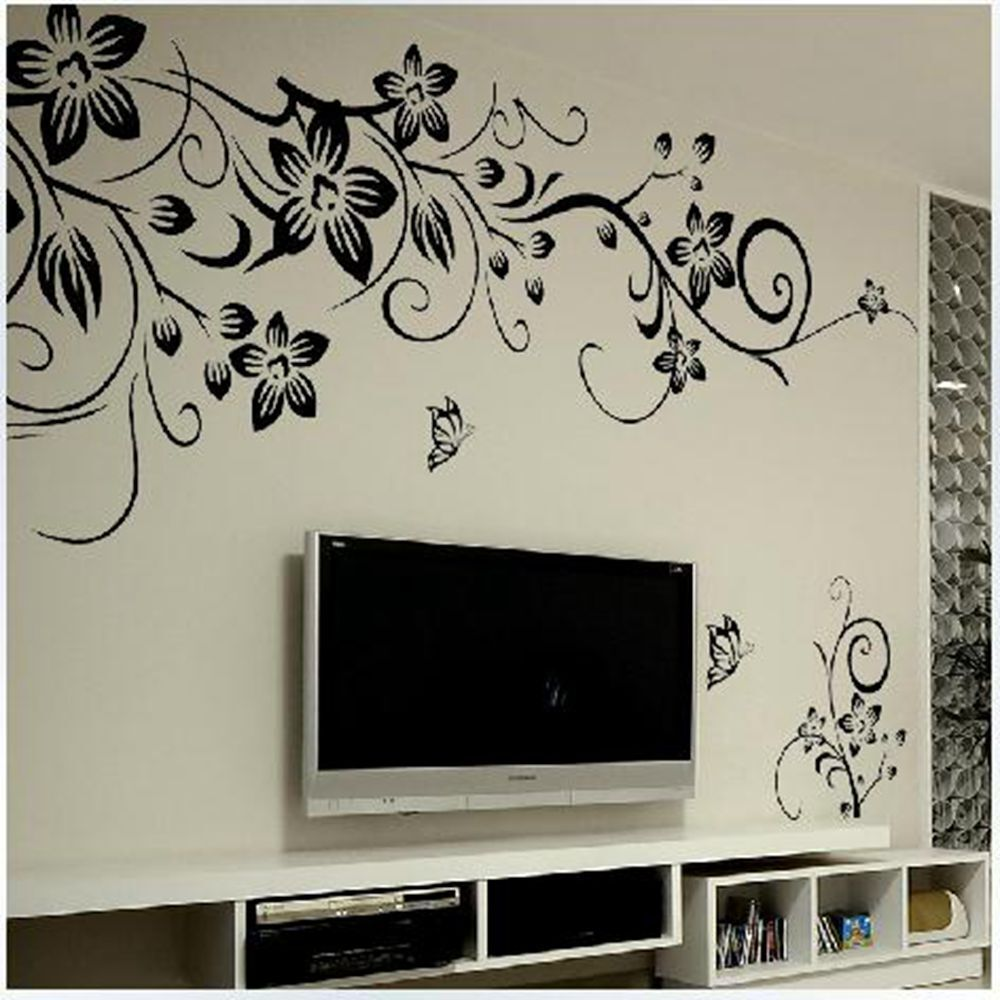 Décoration Murale Vinyle Diy Home Decor Mural Black Flower Butterfly Living Room Wall Stickers Vinyl Art