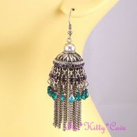 Antique Silver Ethnic Indian Purple & Teal Crystal ...