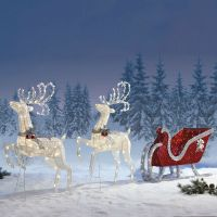 Outdoor Christmas Decoration Reindeer Twinkling Sleigh ...
