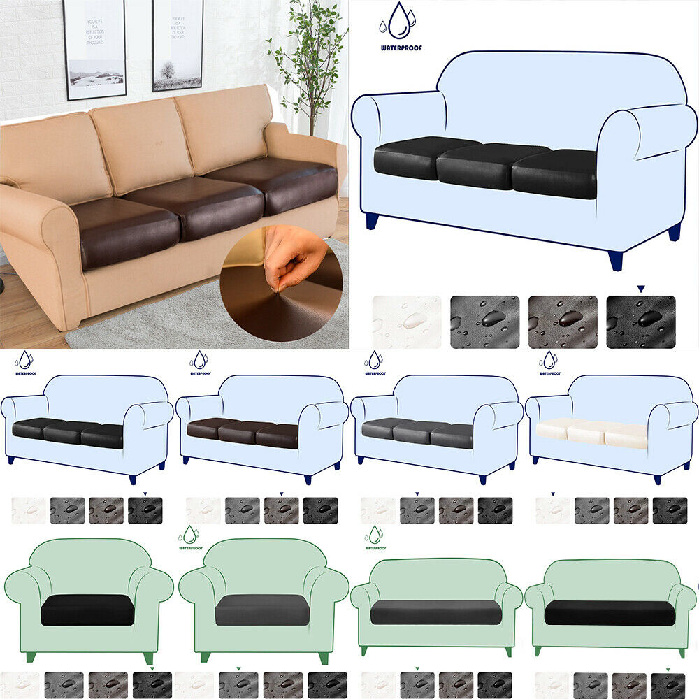 Stretch Pu Leather Sofa Chair Seat Cushion Cover Waterproof Slipcovers Protector Ebay