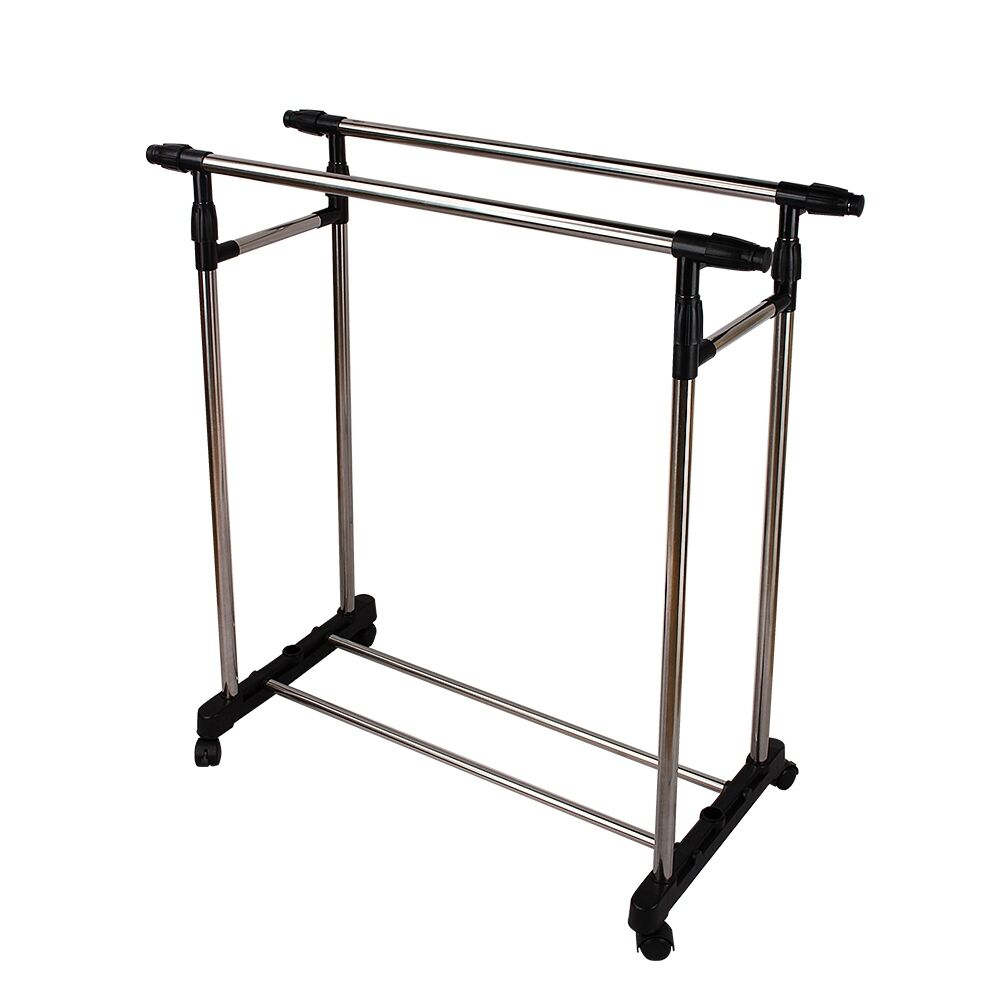 Double Clothes Rail Portable Hanging Garment Dress With