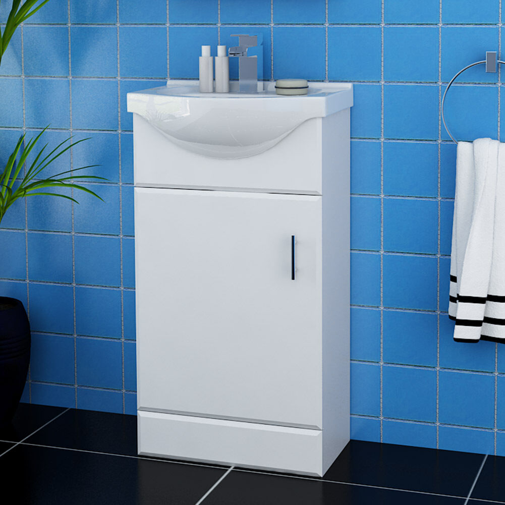 Bathroom Vanity Unit Ceramic Sink White Floor Standing