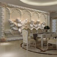 Modern Luxury 3D Embossed Angel Wallpaper Mural Roll ...