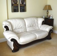 3 Seater Sofa & 2 Chairs Cream Leather Living Room ...
