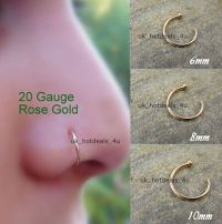 Extra Small Rose Gold Open Helix Ring Nose Ring Hoop 0.6mm ...