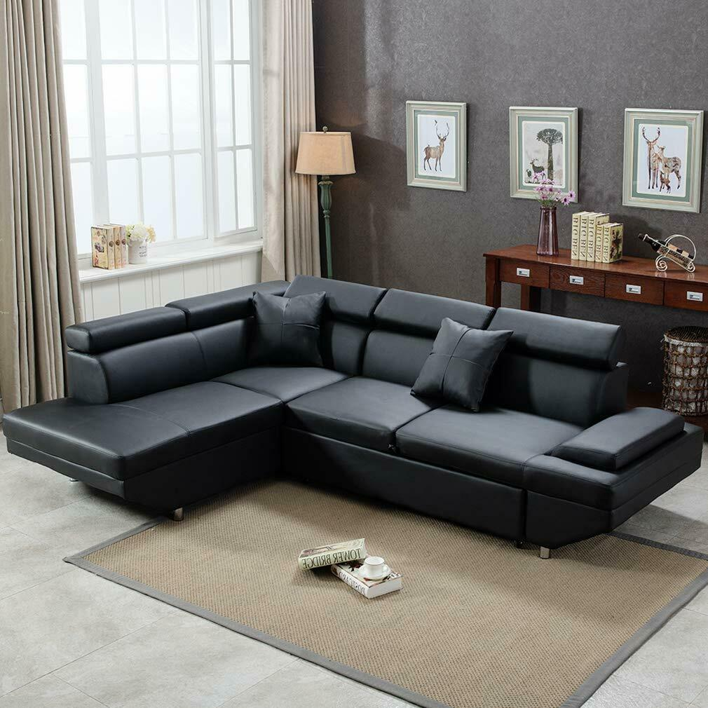 Modern Couch Details About Contemporary Sectional Modern Sofa Bed Black With Functional Armrest Back L