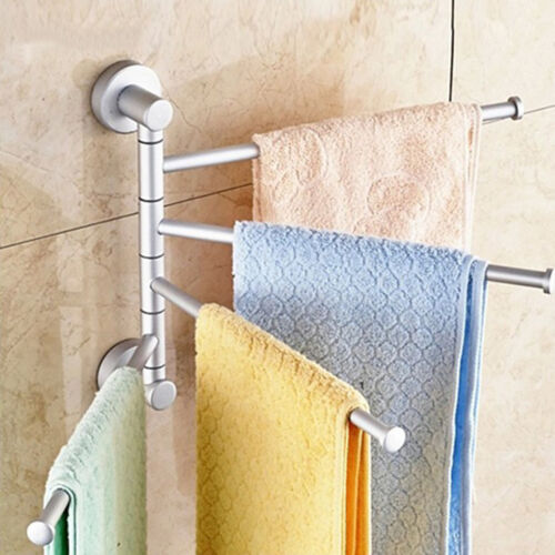 Durable Home 4 Swivel Bar Wall Mounted Towel Rack Bathroom