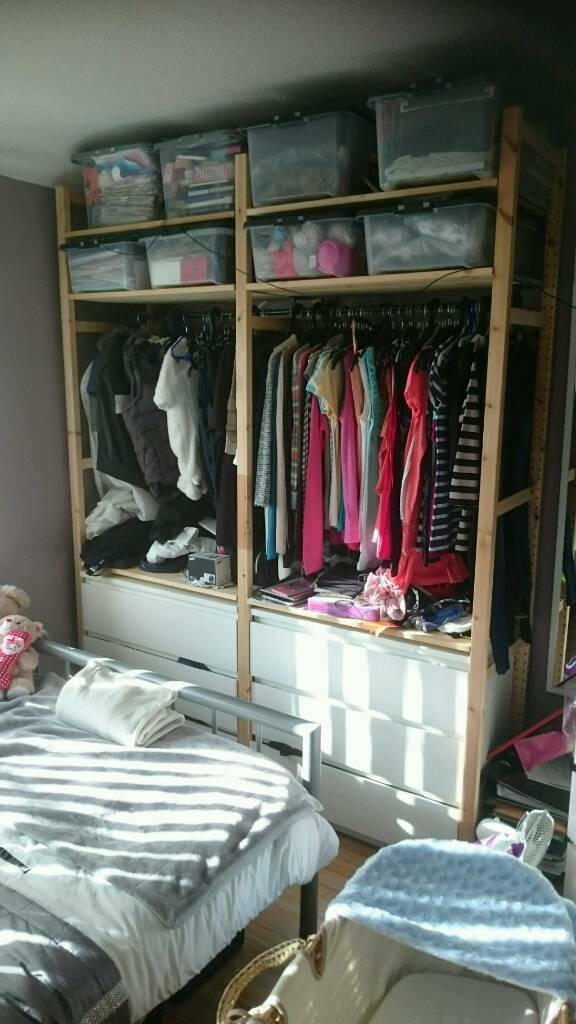 Kleiderschrank Used Look Ikea Ivar Shelving Unit Plus 2x White Malm 3 Drawer Chest