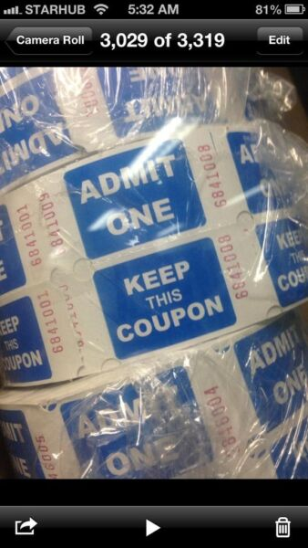 Raffles Tickets printing sistic size blue or green color instant