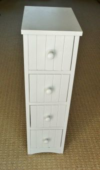 HOME White Slimline Tongue and Groove 4 Drawer Wood Effect ...