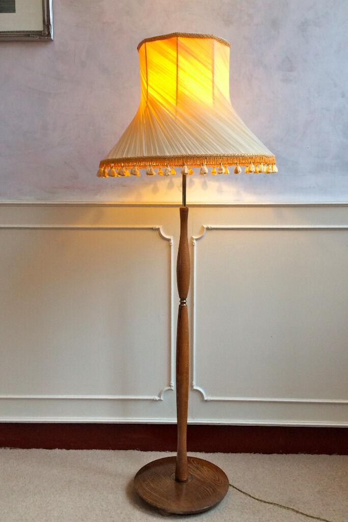 Retro Vintage Teak Brass Mid Century Floor Standing