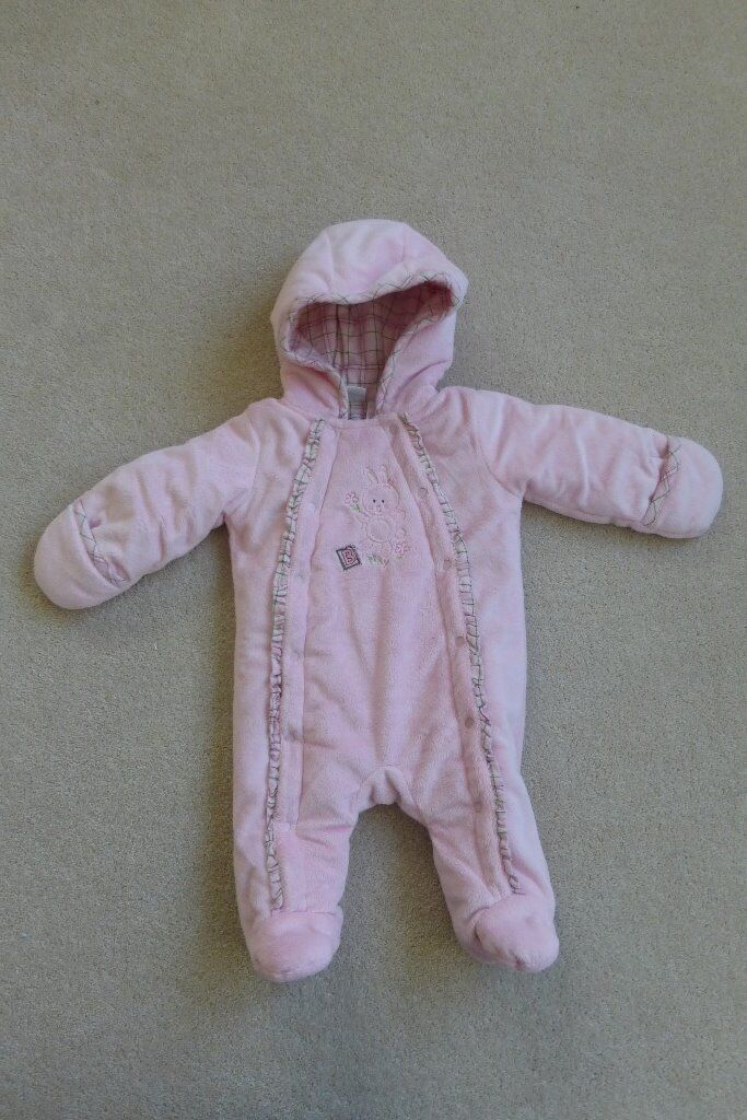Newborn Knitted Pram Suit Pink Pram Suit Snow Suit Up To 6 Months In Poole