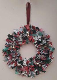 Homemade Christmas Rag Wreath, Wall Hanging, Wall Art ...