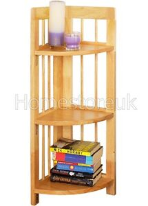 3 Tier Corner Folding Shelf Book Case Display Storage Wood