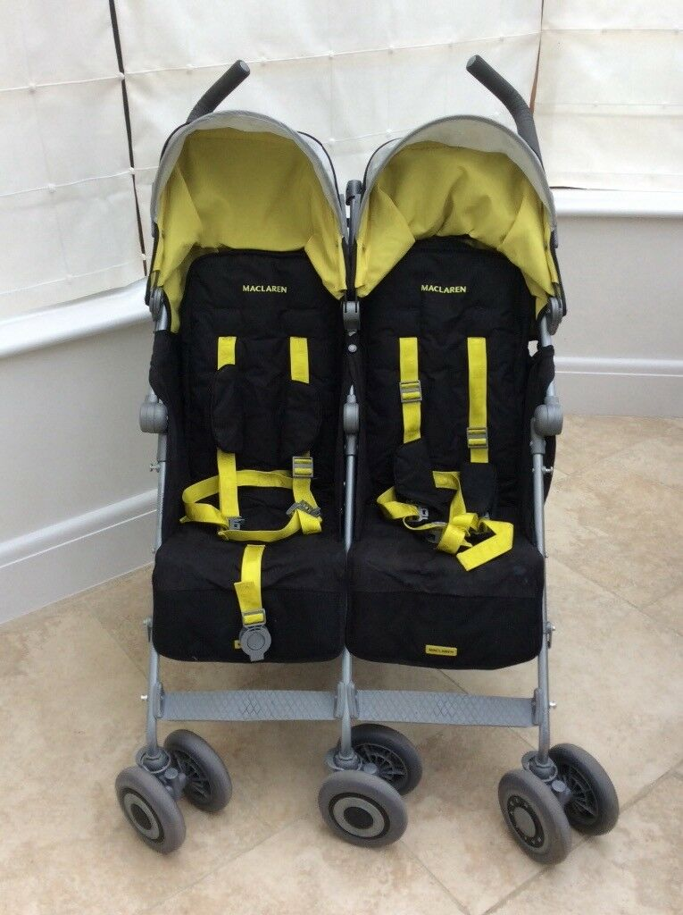 Double Pushchair With Buggy Board Maclaren Twin Techno From Birth Twin Buggy In
