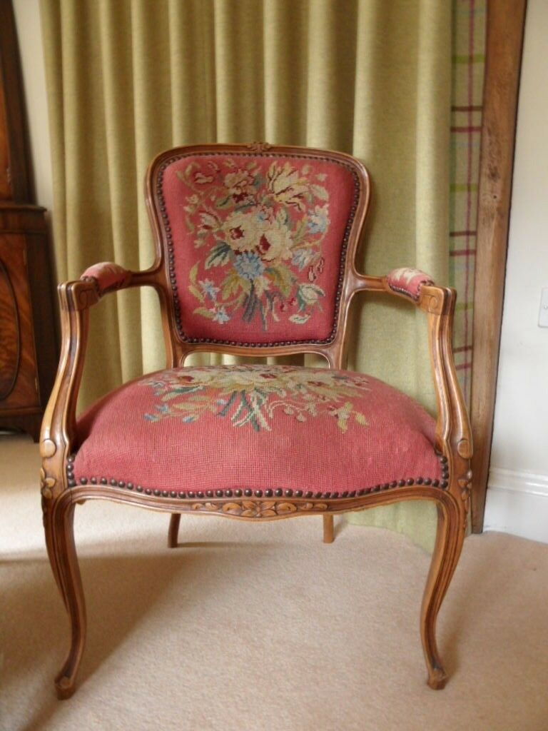Fly Fauteuil Antique French Louis Style Salon Fauteuil Arm Chair Cherry