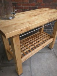 Rustic wooden kitchen island/patio bbq table/freestanding ...