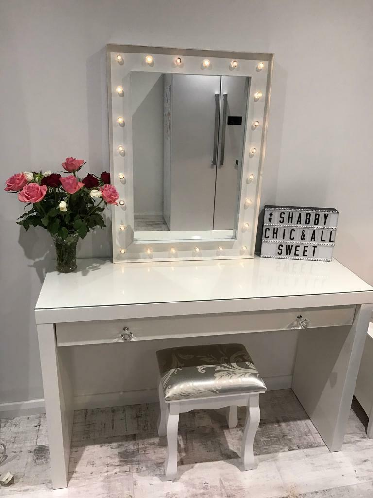 Ikea Hemnes 3 Drawer Dresser Hollywood Mirror Dressing Table Set | In Waterlooville