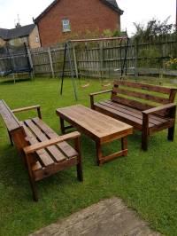 Wood furniture. Garden furniture. Wooden bench/table. Wood ...
