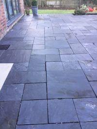 Dark grey slate patio slabs