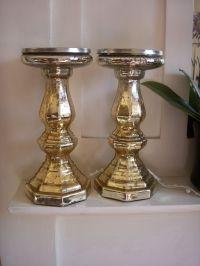 Pair gold mercury glass pillar candle holders ...
