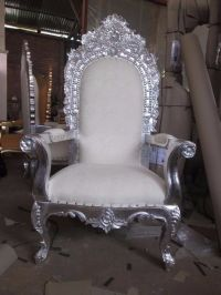 Silver leaf white prince throne chair - asian wedding ...