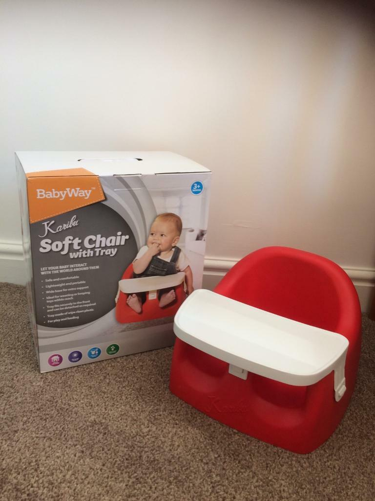 Mamas Papas Footmuff Red Bumbo Type Baby Seat Soft Chair With Tray In