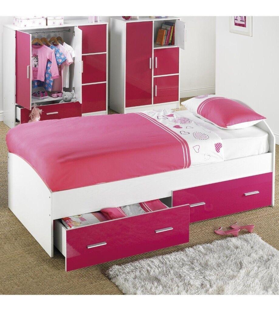 Brand New High Gloss Carleton 2 Storage Drawers Childrens