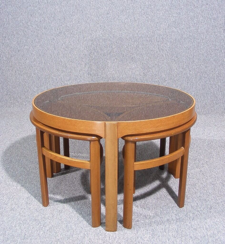 Vintage retro teak glass top nathan petal nesting coffee tables