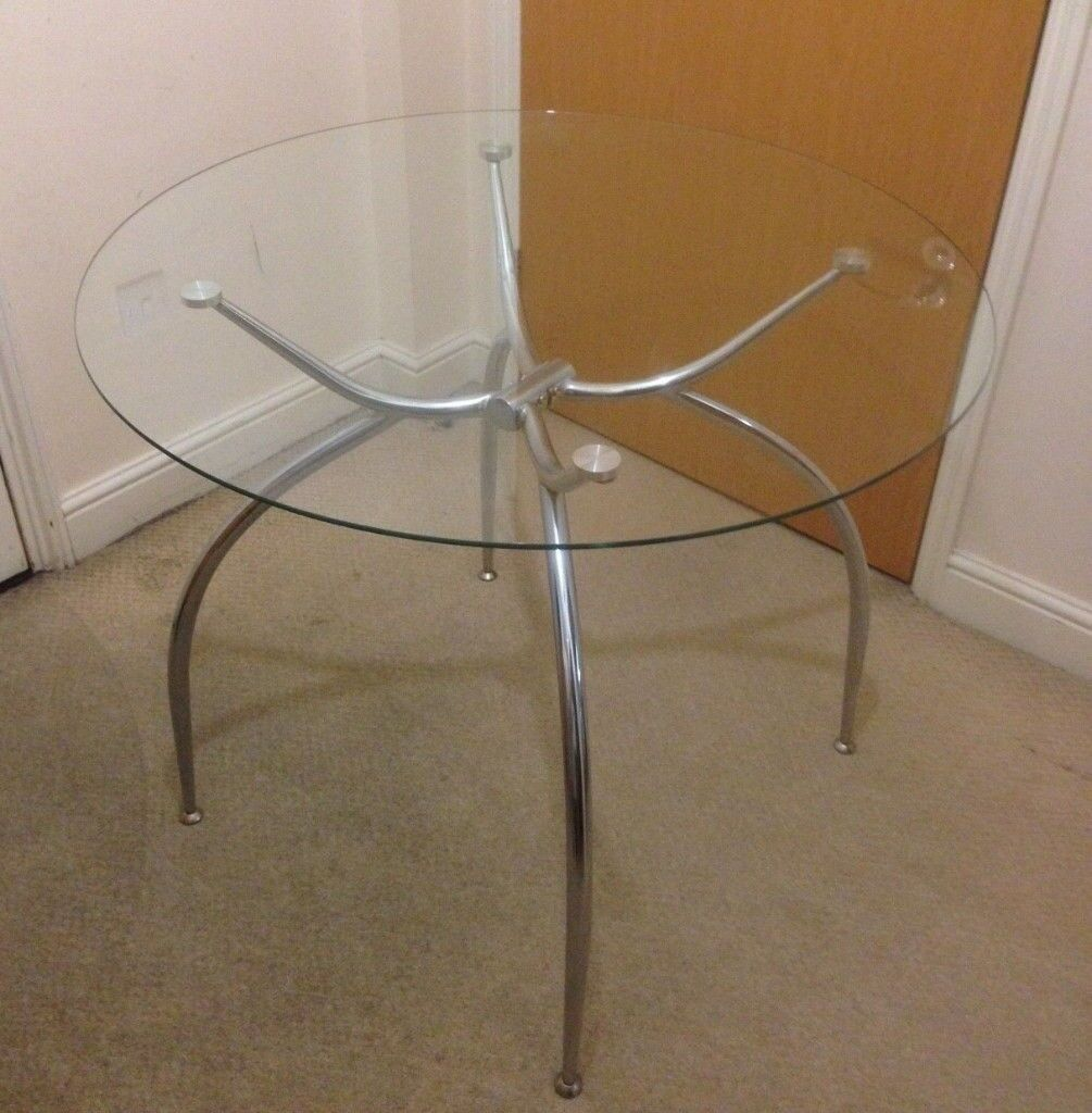 Round Glass Top Dining Table Round Glass Top Dining Table With Chrome Legs In Croydon London Gumtree