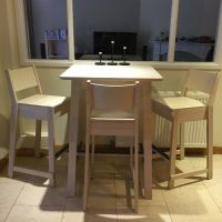 wooden IKEA Norraker breakfast bar table with three bar ...