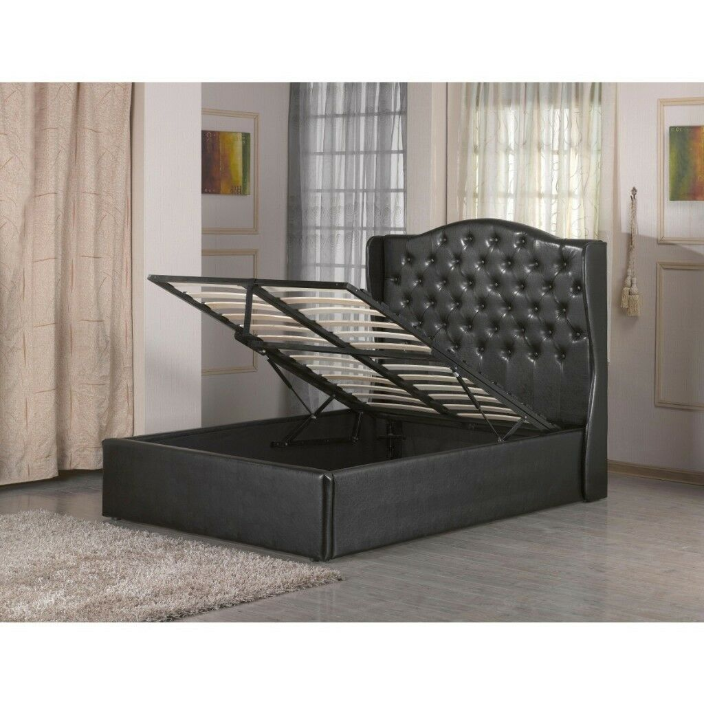 Gas Lift Ottoman Bed Brand New Double Black Wing Style Faux Leather