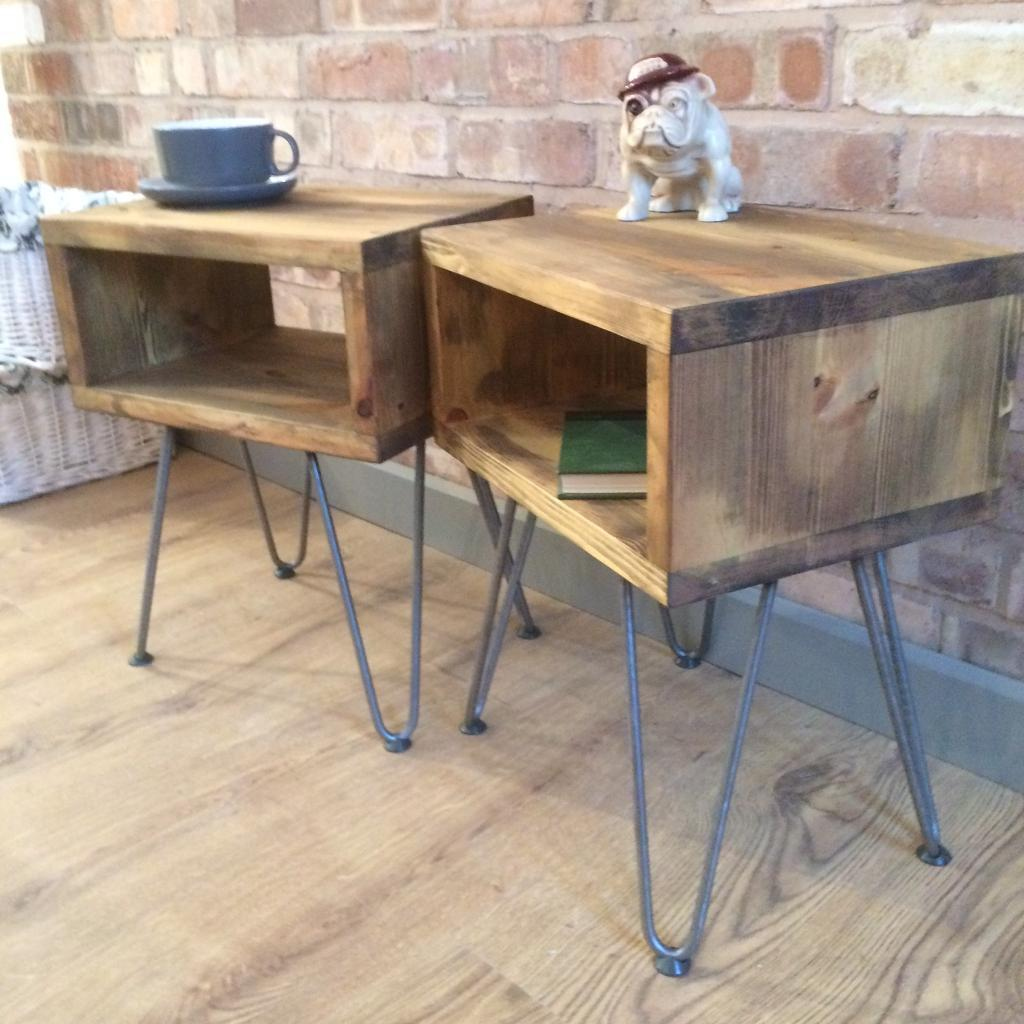 Small Industrial Side Table Rustic Industrial Reclaimed Wood Style Vintage Side Table