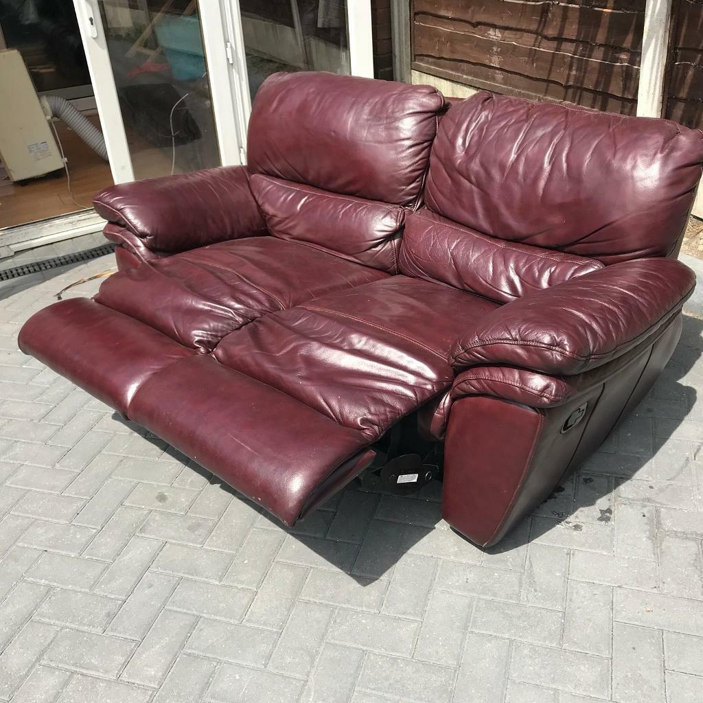Sofology Quebec 2 Seater Oxblood Leather Reclining Sofa In Swinton Manchester