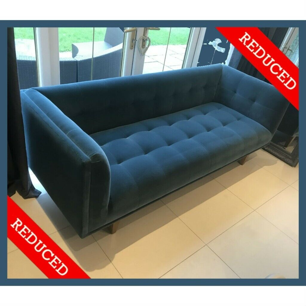 Couch Petrol Sofas Stuff Petrol Blue Velvet Sofa Turquoise Green Large 4 Seater Couch New Fabric Rrp 1 495 In Bacup Lancashire Gumtree