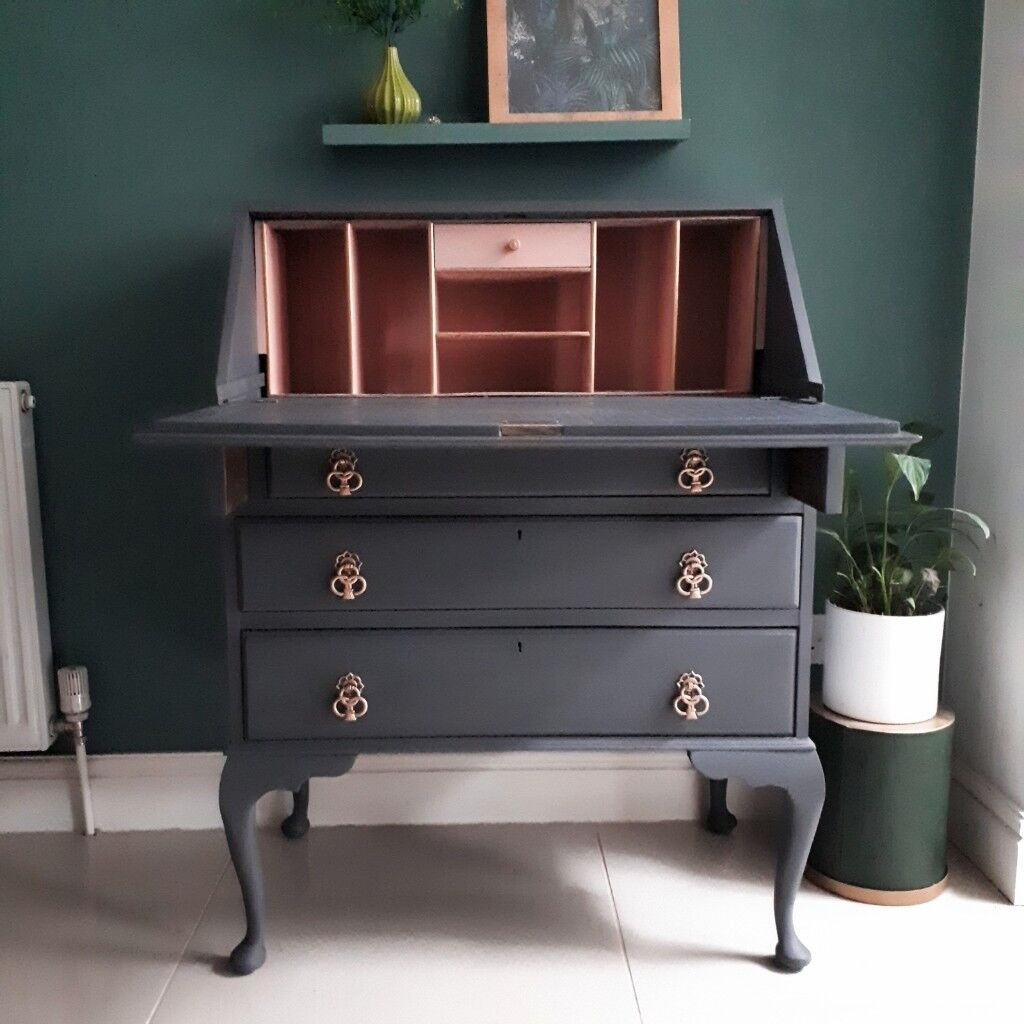 Bureau 1m Graphite Grey And Dusky Pink Vintage Bureau Upcycled In St George Bristol Gumtree