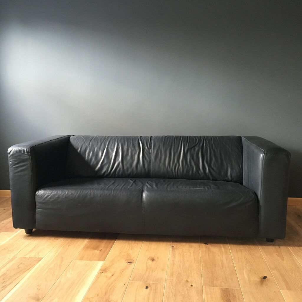 Sofa Klippan Black Faux Leather Ikea Klippan Sofa In Good Condition