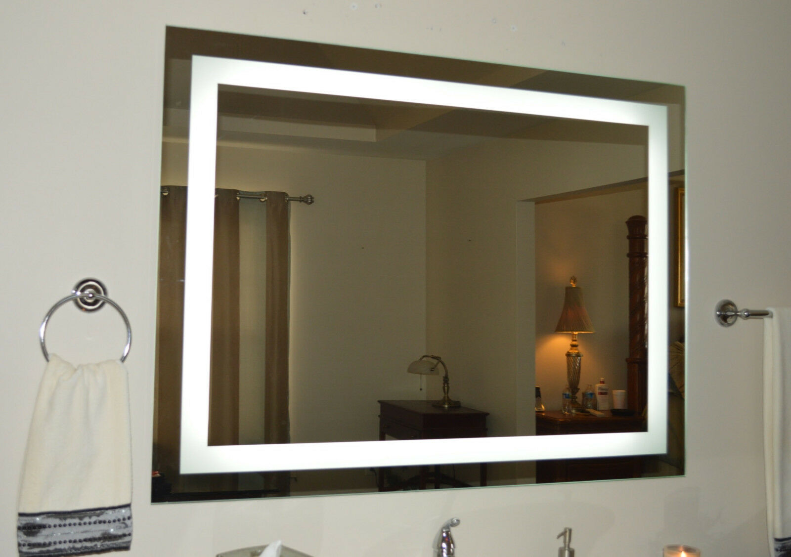 Tall Bathroom Mirrors Lighted Bathroom Vanity Mirror Led Wall Mounted 48